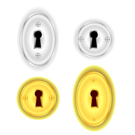 empty keyhole: Key Holes Collection Isolated on White Background.