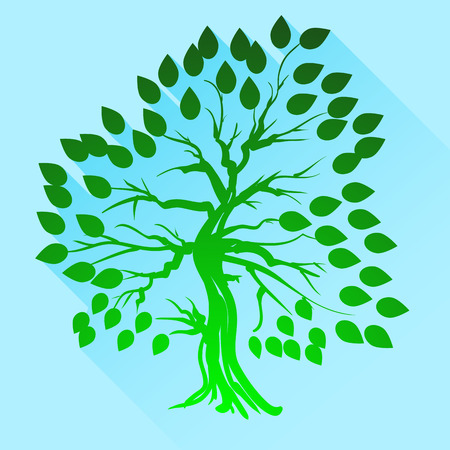 green tree: Green Tree Silhouette Isolated on Blue Background.