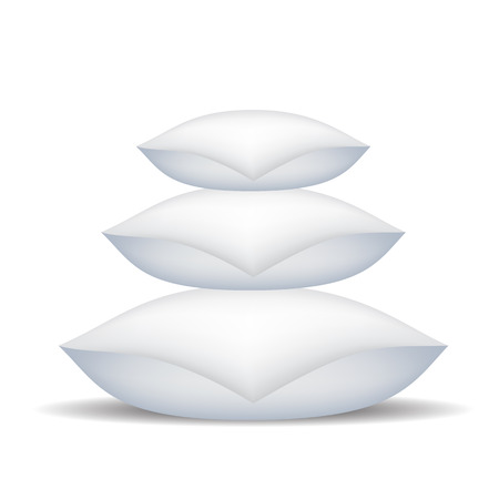 headboard: White Soft Pillows Isolated on White Background. Illustration