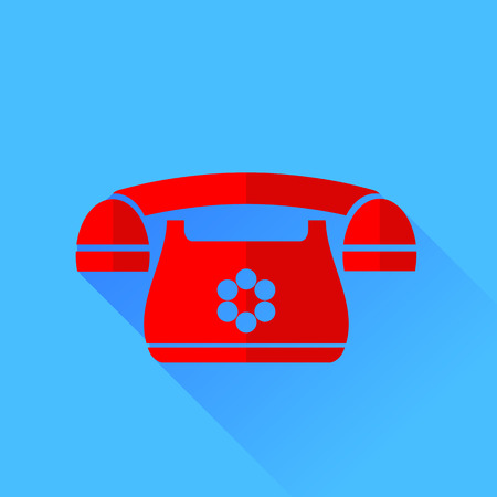 answering phone: Old Red Phone Isolated on Blue Background. Long Shadow.