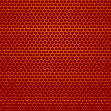 Red Iron Perforated Background. Red Abstract Circle Pattern. Vettoriali