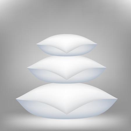 headboard: Set of Soft Pillows for a Sweet Sleep 0n Grey Background.