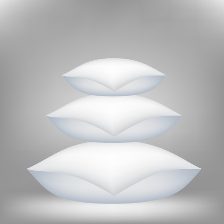 Set of Soft Pillows for a Sweet Sleep 0n Grey Background.