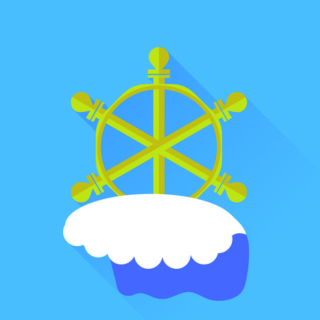 schooner: Ship Wood Steering Wheel  Isolated on Blue Background. Long Shadow. Illustration
