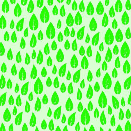 Green Fresh Spring Leaves Background. Leaf Pattern Illustration