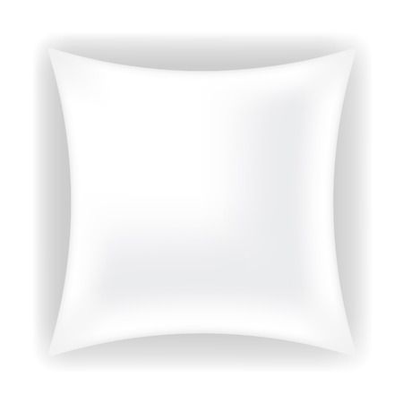 white pillow: White Soft Pillow for Sleep Isolated on White Background Illustration