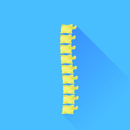 the backbone: Backbone Icon Isolated on Blue Background. Long Shadow.