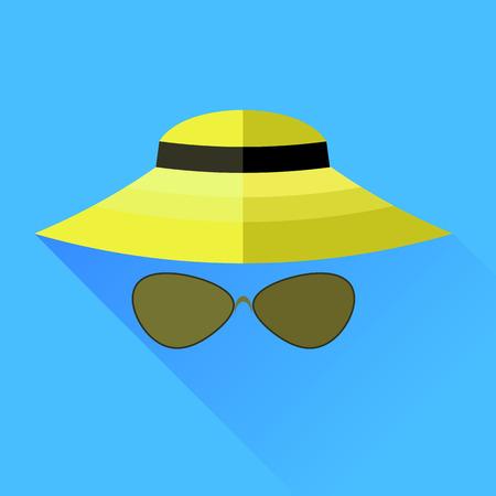 sombrero de paja: Sombrero de paja y gafas aisladas sobre fondo azul