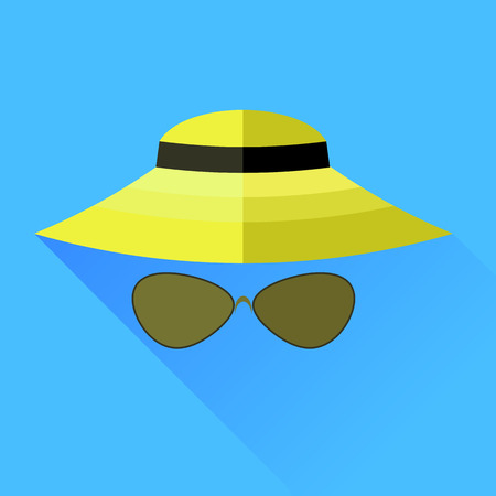 straw hat: Straw Hat and Glasses Isolated on Blue Background