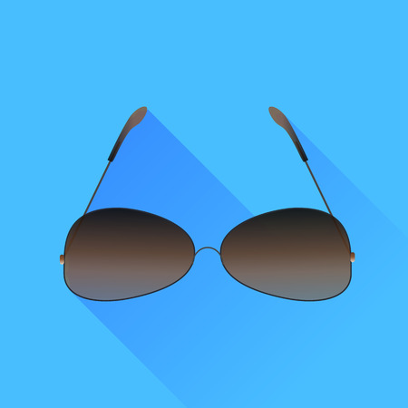 sunglasses isolated: Modern Sunglasses Isolated on Blue Background. Long Shadow. Illustration