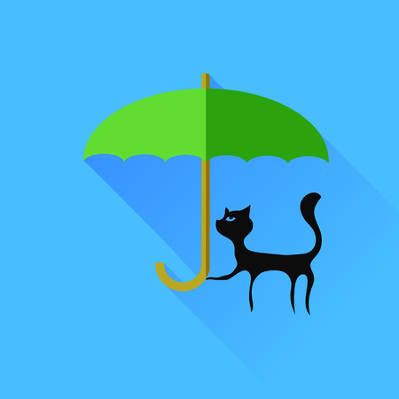 pussy hair: Black Cat and Green Umbrella Isolared on Blue Background.