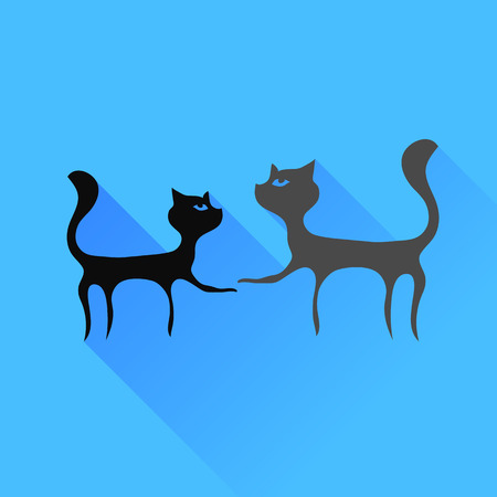 Two Cats Silhouettes Isolated on Blue Background. Illustration