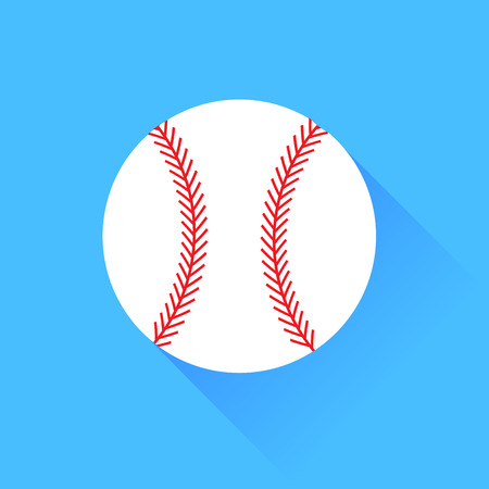 fastball: Baseball Isolated on Blue Background. Long Shadow. Illustration