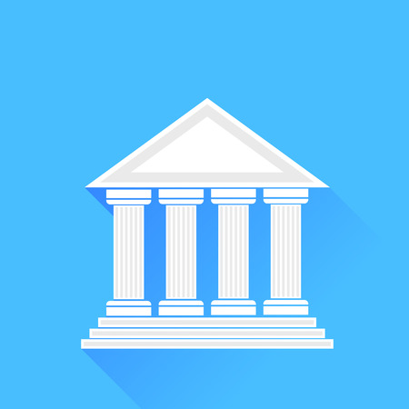 Greek White Silhouette Temple Isolated on Blue Background.