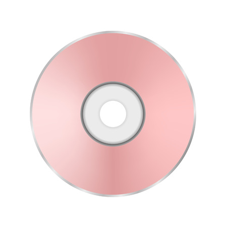 cd r: Pink Compact Disc Isolated on White Background.