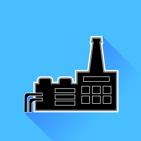 distillery: Factory Icon Isolated on Blue Background. Silhouette Building of Factory. Illustration
