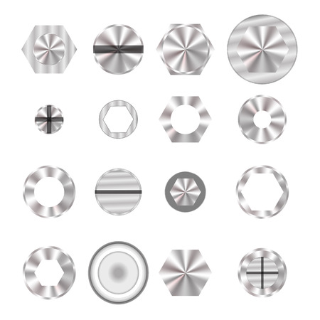 Set of Screw heads Isolated on White Background.