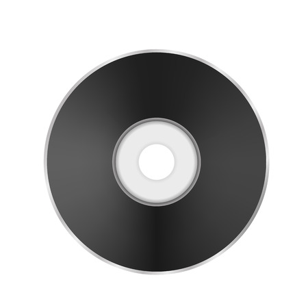 Dark Compact Disc. CD Icon. DVD Symbol Isolated on White Background. Illustration