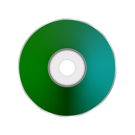 cd r: Green Compact Disc Icon Isolated on White Background. Illustration