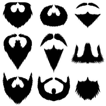 Mustaches and Beards Collection Isolated on White Background.  イラスト・ベクター素材