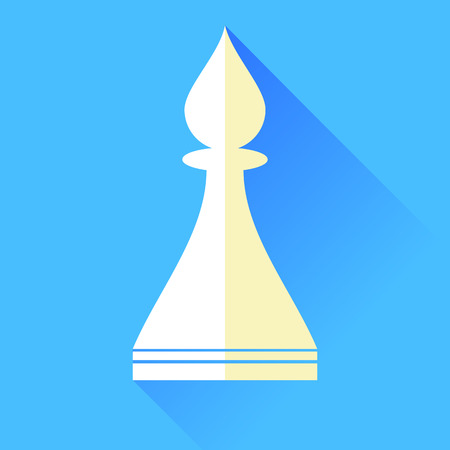 Bishop Chess Icon Isolated on Blue Background. Illustration