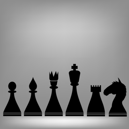 chessmen: Chess Pieces Silhouettes on Grey Background