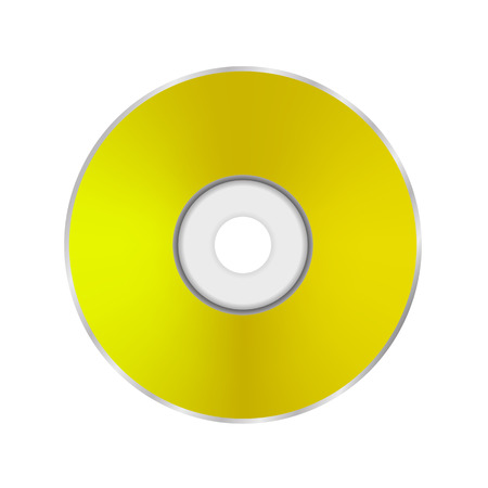 cd r: Gold Compact Disc Isolated on White Background