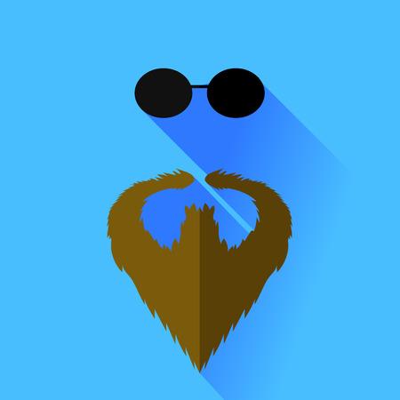 Beard and Glasses Isolated on Blue Background Illustration