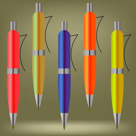 ball pens stationery: Conjunto de plumas de colores aislados sobre fondo marr�n Vectores