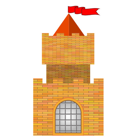 chivalry: Old Red Brick Castle Isolated on White Background