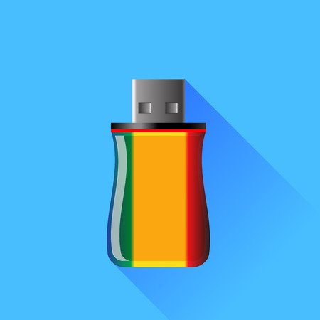 microdrive: Memory Stick Isolated on Blue Background.