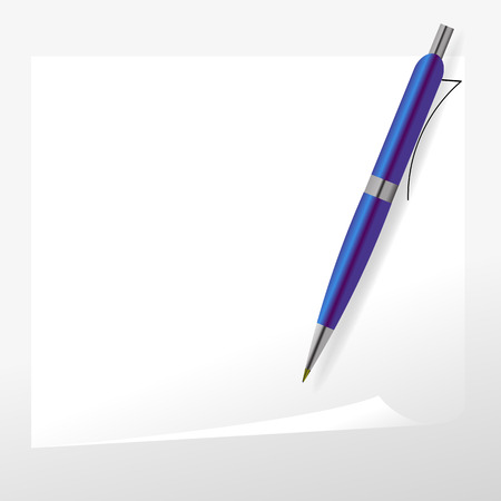 blue pen: Blue Pen and Paper Isolated on Grey Background.