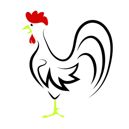 dominant: Cartoon Rooster Isolated on White Background