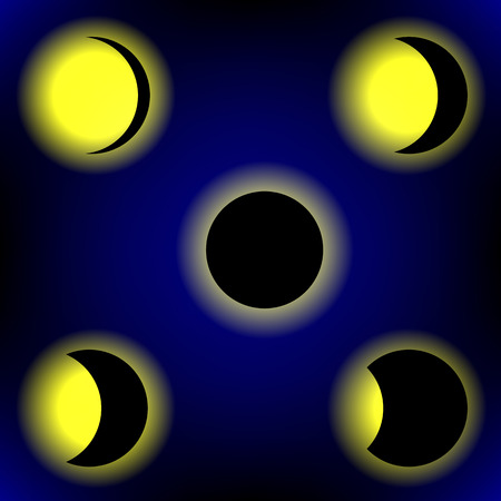 phases: Solar Eclipse Phases on Blue Sky Background Illustration