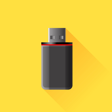 microdrive: Dark Memory Stick Isolated on Yellow Background.