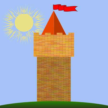 chivalry: Old Red Brick Castle on Blue Sky Background.