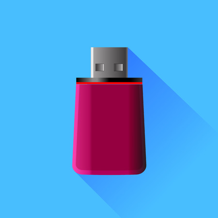 microdrive: Red Memory Stick Isolated on Blue Background.