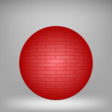 stonework: Red Brick Sphere on Grey Background for Your Design. Illustration