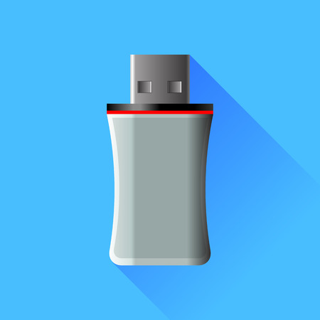 microdrive: Memory Stick Isolated on Blue Background Illustration