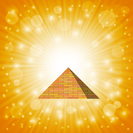 ancient civilization: Pyramid on Hot Sun Sky Background