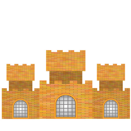 turret: Red Brick Old Castle Isolated on White Background Illustration