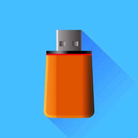 memory stick: Orange  Memory Stick Isolated on Blue Background