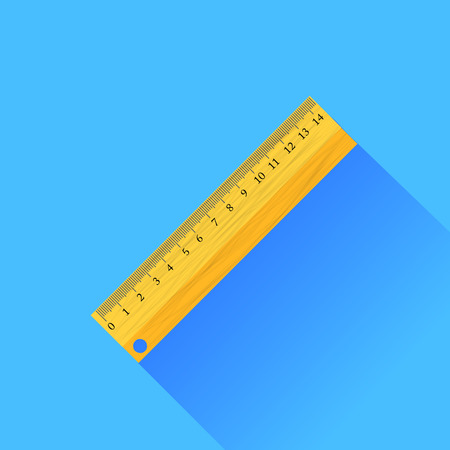 ruler: Wooden Ruler Isolated on Blue Background
