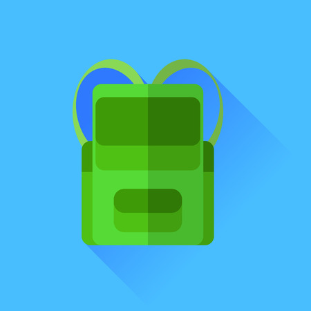 Green Backpack Icon Isolated on Blue Background