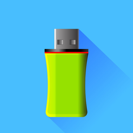 microdrive: Green Memory Stick Isolated on Blue Background Illustration