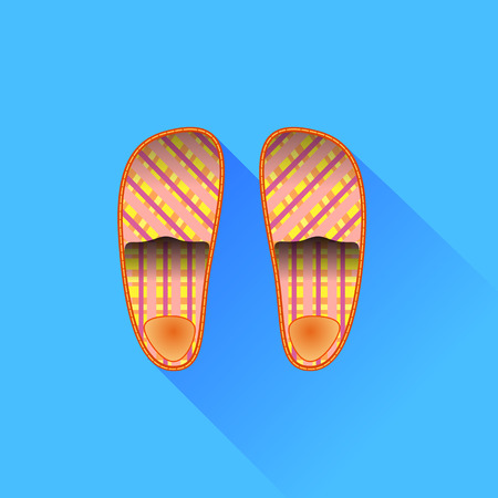 outsole: Slippers Isolated on Blue Background. Long Shadow. Illustration