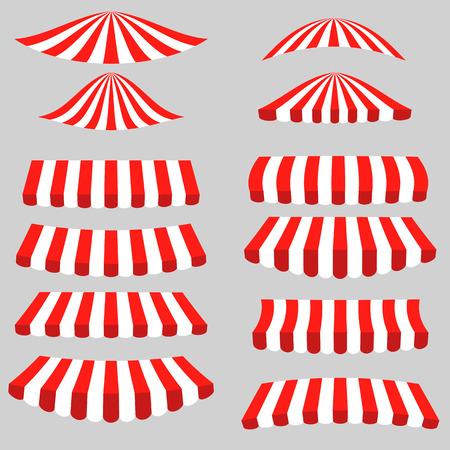 Conjunto de Red Tiendas blancas sobre fondo gris. Toldos a rayas.