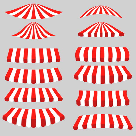 Set of Red White Tents on Grey Background. Striped Awnings.