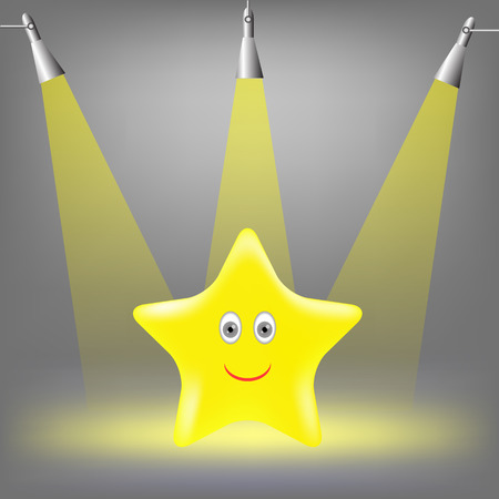 gold  yellow: Gold Yellow Star on Grey Light Background.