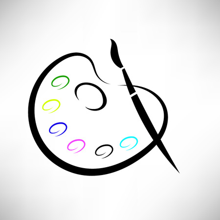 Paintbnrush and Paints Icon Isolated on White Background